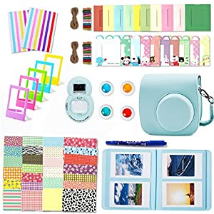Leebotree Camera Accessories Compatible with Instax Mini 9 or Mini 8 8+ Include Case/Album/Selfie Lens/Filters/Wall Hang Frames/Film Frames/Border Stickers/Corner Stickers (Ice Blue)