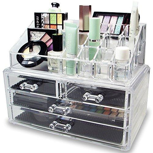 Ideal Qualität transparent Acryl Kosmetik Organizer Display Ständer Aufbewahrung Tisch für Make Up, Nagellack, Lack, Kunst und Kunsthandwerk, Pinsel-Sets, mit 4Schubladen und Schmuck (Kunst Und Kunsthandwerk-speicher)