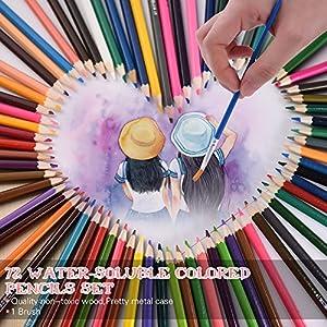 61 8MN8xhkL. SS300  - KKmoon-72-color-Premium-pre-sharpened-agua-soluble-en-agua-lpices-de-colores-Set-con-cepillo-para-nios-adultos-artista-arte-dibujo-escritura-arte-para-colorear-libros