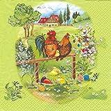 Chicken Family Motif Paper Napkins Pack 20–Dregeno Ore mountains