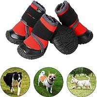 PETLOFT Hundeschuhe, 4pcs Anti Rutsch Pfotenschutz Hund Schuhe mit Einstellbar Verschlussriemen Dog Boots für Kleine…