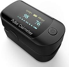 Pulsoximeter, Oximeter mit Pulsmesser mit 4 Richtungen rotierendem OLED Display Fingeroximeter für die Messung des Puls und der Sauerstoffsättigung am Finger, Schwarz
