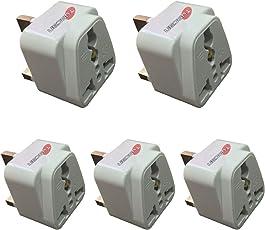 Hi-PLASST Universal UK Flat Pin 3Pin Travel Power Plug Adapter (Pack of 5)