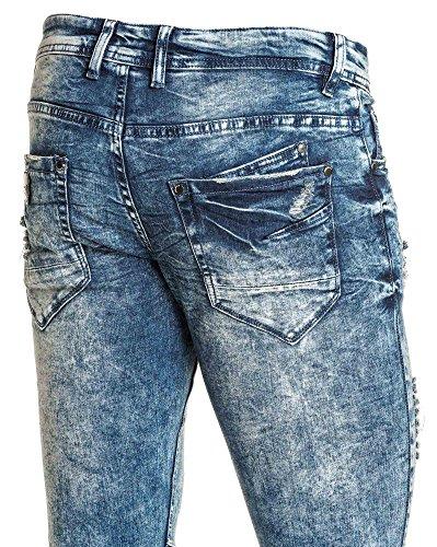 Project X - Jeans fashion bleu délavé destroy homme Bleu