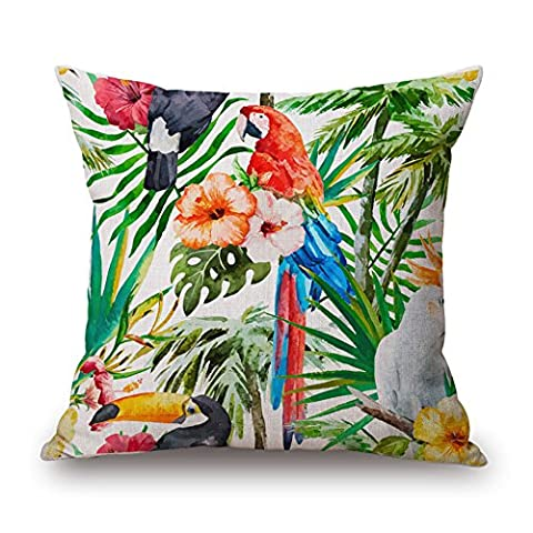 MaxG Home Decor Cotton Linen Tropical Parrots Birds Palm Leaves Flowers Plants Square Throw Pillow Cases Cushion Covers For Sofa Bed 18X18
