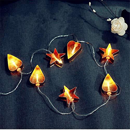 Luci da fiaba a led geometriche in oro, luci da stringa a lanterna a LED in metallo - perfette per un uso multiuso