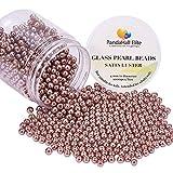 PandaHall Elite - Lot de 1 Boite Perle en Verre Teint Environmental Perle Rond Pearlized pour DIY Fabrication de Bijoux Collier Bracelet, Selle Marron, 4~4.5mm, Trou: 0.7mm, environ 1000pcs/Boite