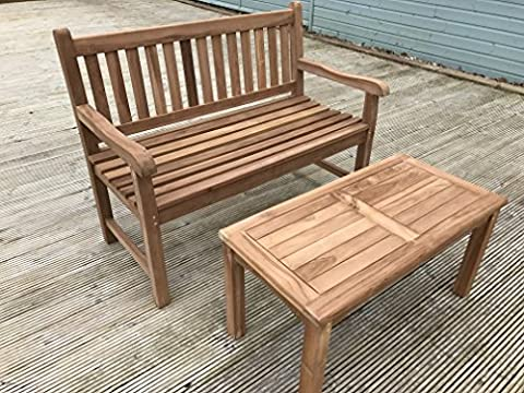 Malmesbury 2 Seater Garden Set - Solid Teak 90cm Rectangular Coffee Table and Bench