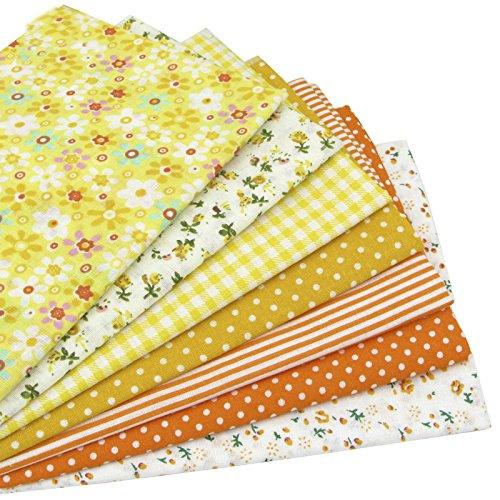 Shengze 7pcs 49cm*49cm giallo 100% cotone trapunta tessuto per fai da te cucito patchwork bambini lenzuola borse tilda baby doll panno tessile tessuto