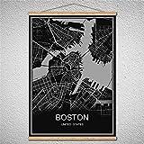 TIANLIANG Benutzerdefinierte Muster Brasilia Moderne Poster Weltkarte Stadt Abstrakten Bild Drucken Öl Gemälde Leinwand Poster Mit Rahmen, Boston, 42 X 30 cm Mit Rahmen