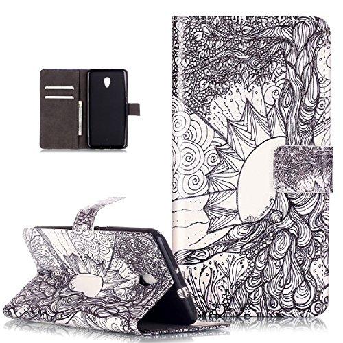 zte-blade-v7-casezte-blade-v7-wallet-caseikasus-flower-sketch-pu-leather-fold-wallet-pouch-case-prem