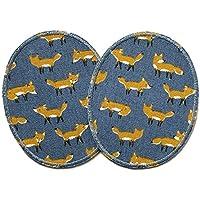 Set 2 Knieflicken Fuchs Flicken zum Aufbügeln für Kinder