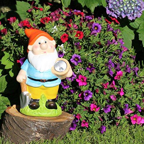 Solar Gartenzwerg klassisch 22cm mit Solarlampe Gartendeko Garten-Figur