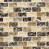 Mosaik Fliese Transluzent dunkelbeige Brick Glasmosaik Crystal Stein emperador dunkel für BODEN WAND BAD WC DUSCHE KÜCHE FLIESENSPIEGEL THEKENVERKLEIDUNG BADEWANNENVERKLEIDUNG Mosaikmatte Mosaikplatte