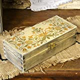 handmade4u Vintage Holz Federkästchen Federmäppchen Federmappe Griffelkasten Holzkasten