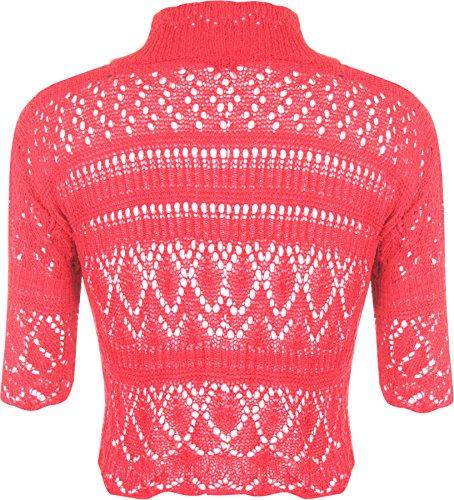 WearAll - Manche Courte Crochet Tricoté Boléro Top - Hauts - Femmes - Tailles 36 à 42 Rose Fluorescent