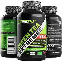 Green Tea Extreme - 180 vegane Kapseln - 1370 mg Grüner Tee Extrakt pro Tagesdosis - 95% Polyphenole & 45% EGCG & Bioperine - Hoch konzentrierter Grüntee - Vegan - German Elite Nutrition