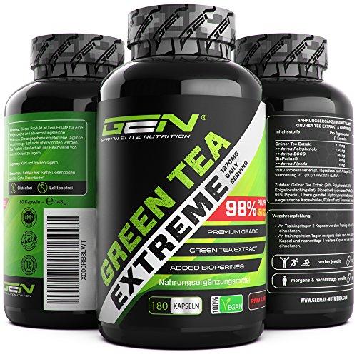 Green Tea Extreme - 180 vegane Kapseln - 1370 mg Grüner Tee Extrakt pro Tag - 95% Polyphenole & 45% EGCG & Bioperin® - Hoch konzentrierter Grüntee - German Elite Nutrition