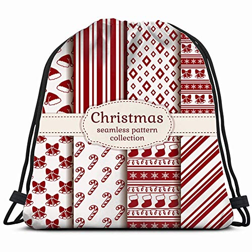 fjfjfdjk Merry Christmas Happy New Year Set Holidays Drawstring Backpack Gym Sack Lightweight Bag Water Resistant Gym Backpack for Women&Men for Sports,Travelling,Hiking,Camping,Shopping Yoga Black Dance Cane