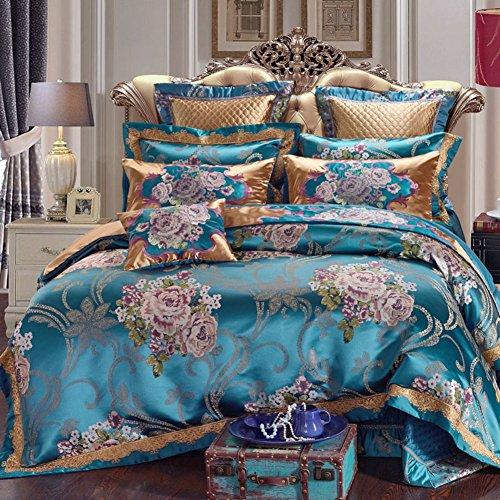JYTT Komfort-räume Klassisch Bettwäsche Set, Nach unten tröster 10 stück Rosa Ganze Saison Königin Jacquard Faux Seide Schlafzimmer bettdecken-A Queen2 -