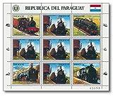 | Güterzug-Dampflokomotiven |Briefmarken-Kleinbogen | Paraguay |Eine Reise durch die Geschichte der Dampflokomitven & Güterzüge