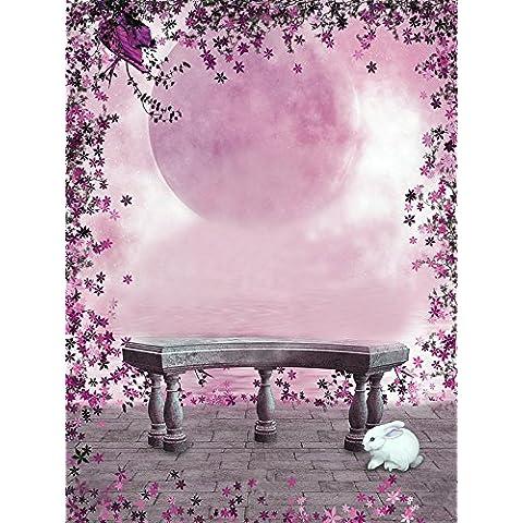 5x 7fotografía telón de fondo rojo luna cielo flores lago piedra silla en el país de las maravillas para Studio lily00686