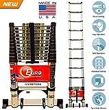 #9: [ Best seller ] Euro Telescopic Aluminium ladder 4.4 mtr (14.5 feet) - Stores at 3.2 feet - Aircraft grade Aluminium - New Tip N Glide Wheels & Ultra Stabilizer - Portable - Soft close