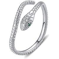 Qings Anello Serpente Oro Donna Regolabile Anelli Serpente Argento 925 Vintage Snake Ring Aperto Dito Anello con Zirconi…