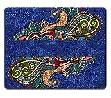 luxlady Gaming Mousepad Bild-ID: 35795478Floral Dekorative Einladung Vintage Paisley Rahmen-Design Blumen Trennwand und Seite Deko auf Ornament Hintergrund in Ultramarin Farbe Vector Illust