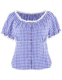 OS Trachten Bluse Damen Trachtenbluse Carmen Bluse Schulterfrei Carmenbluse  Angelegenheit Farbe Blau Weiß Kariert 22f0a6b7db