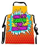 Fresh Publishing Ltd 'OMG It's Griffin The BBQ Man!', Personalised Name, Humorous Comic Art Design, Canvas Apron, Size 25in x 35in approximately