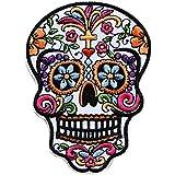 tete de mort crane mexicain croix catholique Écusson brodé Ecussons Imprimés Ecussons Thermocollants Broderie Sur Vetement Ecusson 10x7,5cm