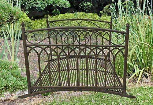 TWC WARENHANDEL PLUS Garten und mehr... Retro Garten Teich Brücke Metall Rost Optik Vintage Design mit Geländer Lauf - hochwertige Garten Dekoration -
