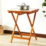 Side table Folding Table/Solid Wood Small Square Table/Tile Anti-hot High Temperature Resistant Dining Table/Home Small Desk
