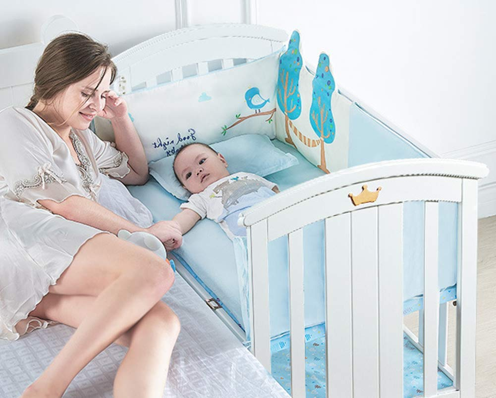 KLI Newborn Infant Crib Solid Harmless Paint Wood Baby Cradle Rocking Bed With Mattress,120 * 68 * 100Cm KLI Shipping list : crib,mat Size:120*68*100cm. Natural pine wood, harmless paint, polished and smooth, environmental wood, good for your baby 3 grade height adjustment: grade 1 (52cm from the floor)can be used for baby in 0-6 month, convenient to take out baby; grade 2 (38cm from the floor) for baby in 6-12 months and can stand independently;grade 3 (22cm from the floor) for baby in 1-3 years old. 2