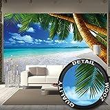Fototapete Palmenstrand Wandbild Dekoration Karibik Traumstrand Bucht Paradies Natur Insel Palmen Tropen blauer Himmel Sommer | Foto-Tapete Wandtapete Fotoposter Wanddeko by GREAT ART (336 x 238 cm)