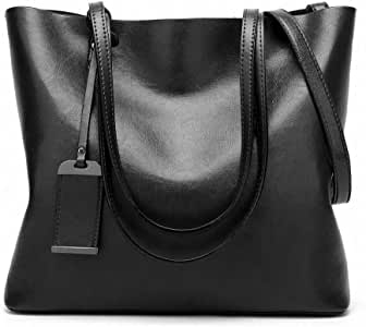 Womens Soft Leather Handbags Large Capacity Retro Vintage Top-Handle Casual Tote Shoulder Bags Black