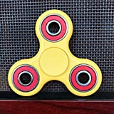 Fidget-Hand-Spinner-Stress-Reducer-Stress-Relief-Autism-YELLOW-WITH-RED-RINGS