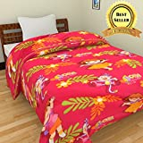 TRUSTFUL Dora The Explorer Cartoon Kids Design Print Single Bed Reversible AC Blanket | Dohar | Quilt | Comforter | Duvet (Polycotton, Multicolor)