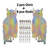 EasyBravo Juego de 2 varillas reflectantes para colgar con control de repelente de aves y disuasorios, con 6 paquetes de 12 pulgadas