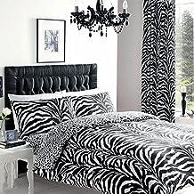 Estampado de cebra de edredón - blanco y negro ropa de mezcla de algodón juego de cama