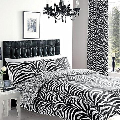 Just Contempo Zebra Print Duvet Cover Set, Double, Black