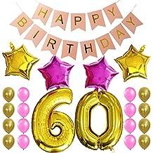 """KUNGYO Dulce Fiesta de Cumpleaños Kit Decoraciones-""""Happy Birthday"""" Bandera rosada; Número 60 Mylar Foil Globo;16 Piezas Rosa Oro Globo de Látex; 4 Piezas Estrella- Fuentes Perfectas del Partido Para el Cumpleaños de 60 Años"""