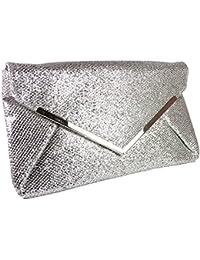 Girly HandBags Gelb Gold Glanz Funkeln Clutch Bag Unterarmtasche Große Schlicht Damen Funkeln Abend Metallic Abschlussball -- Silber