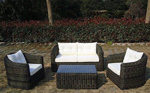 Baidani Gartenmöbel-Sets 10a00009 Designer Rattan Essgruppe Pearl, Tisch – mit Glasplatte, 2-er-Sofa, Sessel, braun - 5