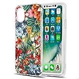 Eouine Coque iPhone XS, Coque iPhone X, Etui en Silicone 3D Transparente avec Motif Peinture [Anti Choc] Housse de Protection Coque pour Téléphone Apple iPhone XS/X - 5,8 Pouces (Fleur colorée)
