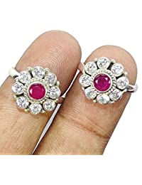 Sahiba Gems 925 Sterling Silver CZ & Ruby Toe Ring For Women