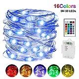 LED Lichterkette Batterie, Nasharia 5m 50 LEDs Lichterketten mit Fernbedienung 16 Farben IP65 Wasserdicht Deko Beleuchtung für Schlafzimmer Patio Garten Weihnachten Hochzeit Party, Bunt