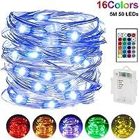 LED Lichterkette Batterienbetriebe, Nasharia 5m 50 LEDs Lichterketten mit Fernbedienung 16 Farben IP65 Wasserdicht Deko Beleuchtung für Schlafzimmer Patio Garten Weihnachten Hochzeit Party