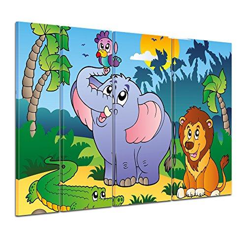 Kunstdruck - Kinderbild afrikanische Tiere - Bild auf Leinwand - 180x120 cm vierteilig - Leinwandbilder - Kinder - Krokodil, Elefant und Löwe im Dschungel